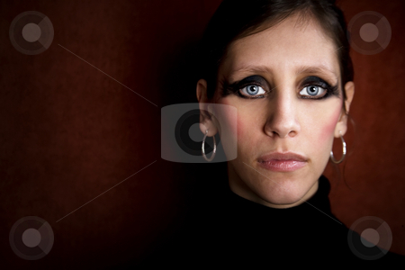 Beautiful Woman in a Black Turtleneck stock photo, Beautiful Woman in a Stretchy Black Turtleneck by Scott Griessel