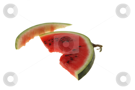 Watermelon stock photo, Bitten slice of watermelon isolated on white background by Jolanta Dabrowska