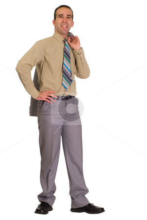 Happy Businessman stock photo, Full body portrait of a happy businessman by Richard Nelson