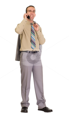 Good Phone Call stock photo, A young businessman talking on a cell phone and smiling, isolated against a white background by Richard Nelson