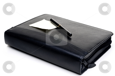 Day planner with a blank note and pen stock photo, Day planner with a blank note and pen by Vince Clements