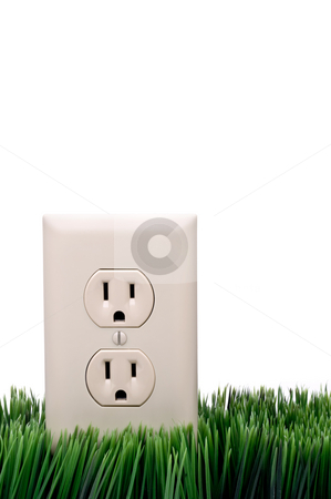 Power outlet on grass stock photo, Vertical power outlet on grass with white background by Vince Clements