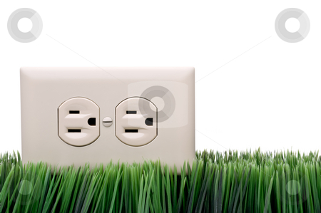 Power outlet on grass stock photo, Power outlet on grass by Vince Clements