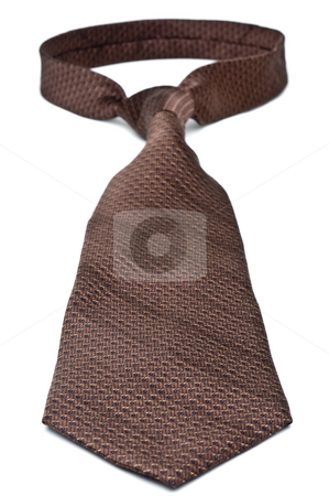 Closeup of a brown business tie stock photo, Closeup of a brown business tie by Vince Clements
