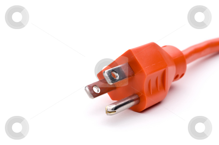 Orange power cord stock photo, Orange power extension cord by Vince Clements