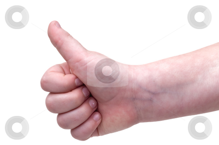 Thumbs up stock photo, A child's handing giving the Thumbs up by Vince Clements