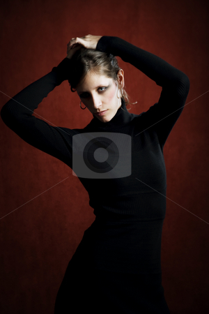 Pretty Woman in a Black Dress stock photo, Pretty Woman in a Stretchy Knit Black Dress by Scott Griessel