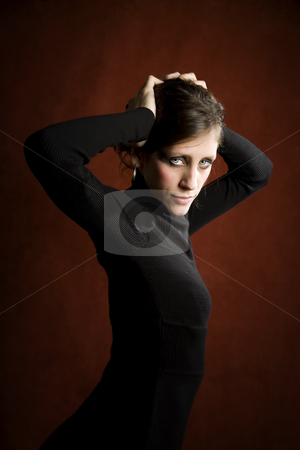 Woman in a black dres stock photo, Pretty woman in a black dress by Scott Griessel