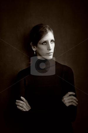 Pretty Woman in a Black Dress stock photo, Pretty Woman in a Stretchy Knit Black Dress by Scott Griessel