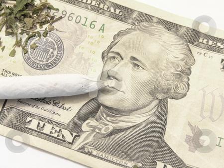 Marijuana stock photo, Marijuana joint and money by John Teeter