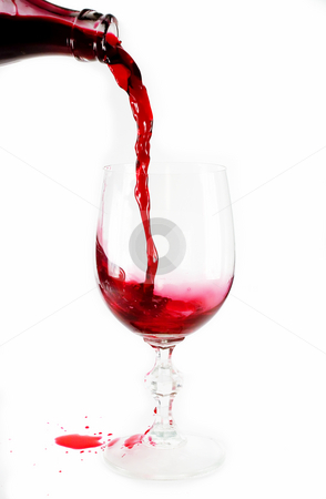 Pouring stock photo, Pouring wine isolated on white by Marek Kosmal