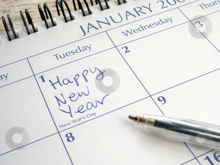 Happy New Year written on 1st January on a calendar. stock photo, Happy New Year written on 1st January on a calendar. by Stephen Rees