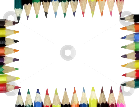 Crayons stock photo, Assortment of colored pencils isolated by Marek Kosmal
