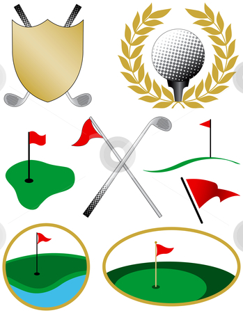 Eight Color Golf Icons stock vector clipart, Eight Color Golf Icons including a golf ball, shield, clubs and flags by Adrian Sawvel