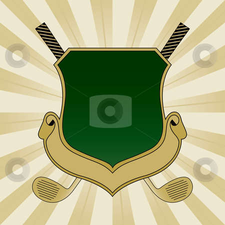 Gold and Green Golf Shield stock vector clipart, Gold and Green Golf Shield by Adrian Sawvel