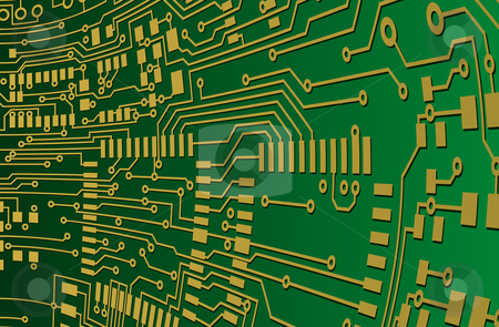 Green and Gold Circuit Board Background stock vector clipart, Green and Gold Circuit Board Background by Adrian Sawvel