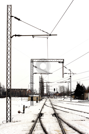 Old railroad tracks in the snow stock photo, Old railroad tracks in the snow by Mark Yuill