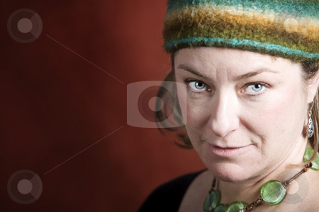 Woman in a Knit Cap stock photo, Attractive Woman in a Bright Knit Cap by Scott Griessel