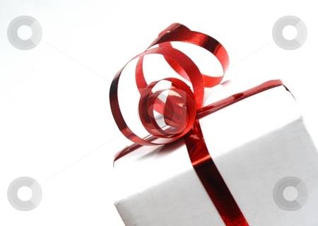A Present stock photo, A white box tied with a red bow by Karma Shuford