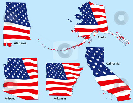 Five States with Flags stock vector clipart, Alabama, Alaska, Arizona, Arkansas and California outlines with flags, each individually grouped by Adrian Sawvel