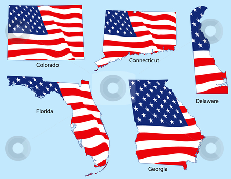 Five States with Flags stock vector clipart, Connecticut, Colorado, Delaware, Florida and Georgia outlines with flags, each individually grouped by Adrian Sawvel