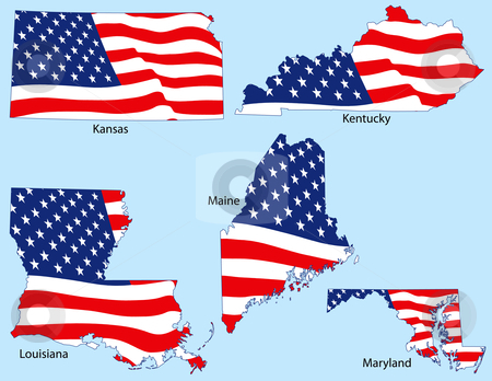 Five States with Flags stock vector clipart, Kansas, Kentucky, Louisiana, Maine and Maryland outlines with flags, each individually grouped by Adrian Sawvel