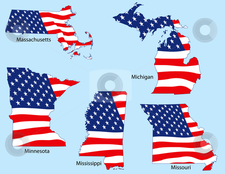 Five States with Flags stock vector clipart, Massachusetts, Michigan, Minnesota, Mississippi and Missouri outlines with flags, each individually grouped by Adrian Sawvel