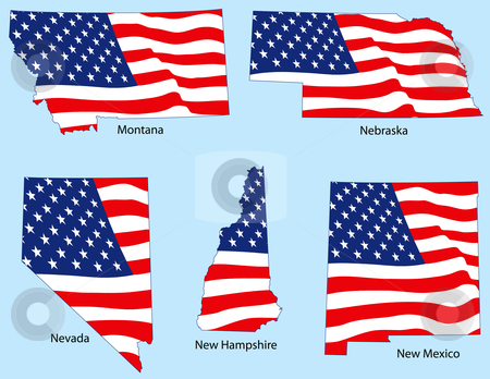 Five States with Flags stock vector clipart, Montana, Nebraska, Nevada, New Hampshire and New Mexico outlines with flags, each individually grouped by Adrian Sawvel