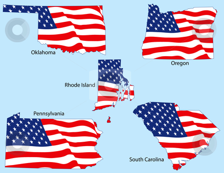 Five States with Flags stock vector clipart, Oklahoma, Oregon, Rhode Island, Pennsylvania, and South Carolina outlines with flags, each individually grouped by Adrian Sawvel