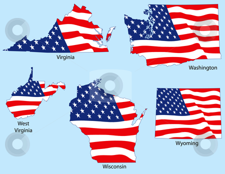 Five States with Flags stock vector clipart, Virginia, Washington, West Virginia, Wisconsin, Wyoming outlines with flags, each individually grouped by Adrian Sawvel