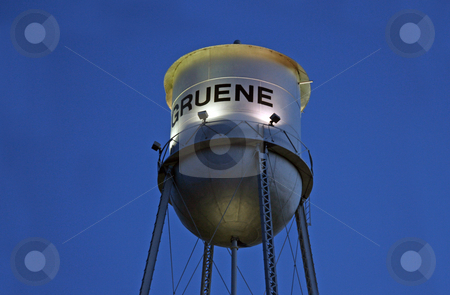 Gruene Water Tower stock photo, The old historic water tower in the city of Gruene, Texas by Kevin Tietz