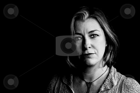 Pretty Adult Woman stock photo, Portrait of pretty adult woman with blue eyes by Scott Griessel