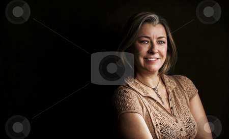 Pretty Adult Woman with Copy Space stock photo, Portrait of pretty adult woman with blue eyes by Scott Griessel