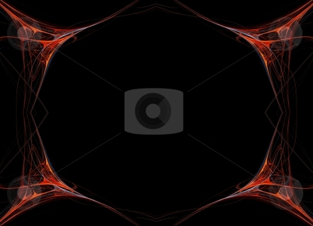 Fractal 40 Red Frame stock photo, Beautiful flows of different color build this fractal by Henrik Lehnerer