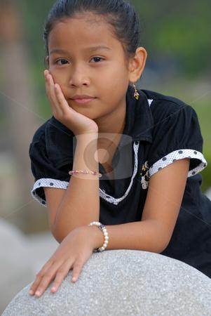 Potrait little girl outdoor stock photo, Potrait little girl outdoor by Jaggat Images