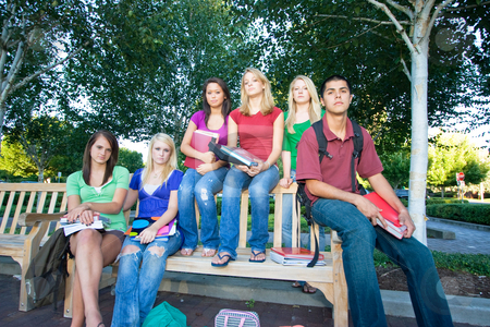 Group of Students - Horizontal stock photo, Group of five high school girls and one boy sitting on a bench holding books and frowning. Horizontally framed photo. by Orange Line Media