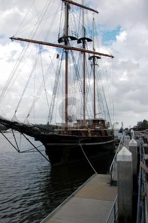 Sailing ship stock photo, Tall sailing ship at anchor in Savannah harbor by Tim Markley