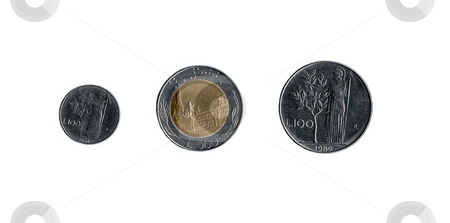 Italian Coins stock photo, Old Italian coins from before Italy switched to the Euro by Kevin Tietz