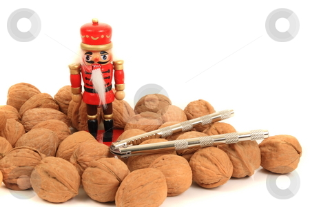 Nut Cracker stock photo, Holiday walnut  nuts concept with  nutcracker concept by Jack Schiffer