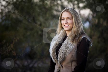 Pretty Blonde Woman stock photo, Portrait of pretty blonde woman in outdoor setting by Scott Griessel