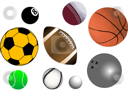 Sports Balls stock photo, Collection of various sports ball in vector format (fully resizable and editable) by Edward White