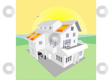 Solar Energy Home Vector stock vector clipart, Solar Energy Home (Vector image fully resizable and editable) by Edward White