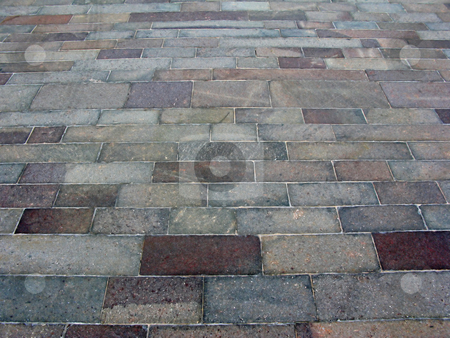 Brick Path stock photo, A path of bricks that creates a pattern. by Lucy Clark