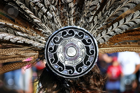 Feather Headdress stock photo, Feather headdress of an Inca woman at a festival by Henrik Lehnerer