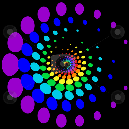 Rainbow blobs stock photo, Rainbow blobs spiral pattern by Sybille Yates