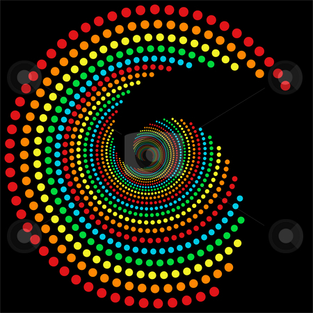 Rainbow dots spiral 2 stock photo, rainbow dots spiral pattern, isolated over black by Sybille Yates