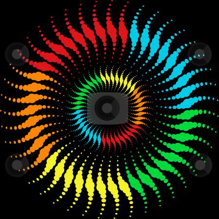 Rainbow waves circles stock photo, Halftone  rainbow dots pattern by Sybille Yates