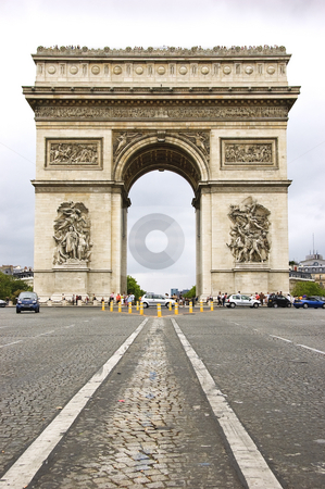 Arc de Triomphe stock photo, Street level view of Arc de Triomphe from Avenue des Champs-Elysees by Rubens Alarcon