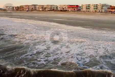 Beach Resort stock photo, Waves rushing toward the beach resort Tybee Island resort by Jack Schiffer