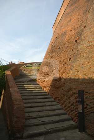 Treppe zum Castello dei Vicari in Lari, Toskana, Italien - Stairway to the Castello die Vicari in La stock photo, Lari ist eine Gemeinde in der Provinz Pisa am s?dlichen Hang des weitl?ufigen Arnotales gelegen. - Lari is a comune (municipality) in the Province of Pisa in the Italian region Tuscany, located about 60 km southwest of Florence and about 25 km southeast of Pisa. by Wolfgang Heidasch